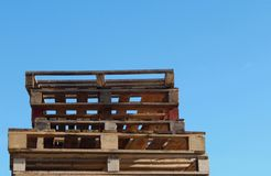 Pallets in a pile outdoors royalty free stock photography