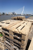 Pallets on the quay side in Rotterdam royalty free stock photography