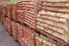 Pallets of red brick Stock Photo