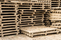 Pallets stacked ready for use Royalty Free Stock Images