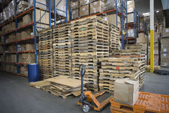 Pallets Stacked In Warehouse Stock Image