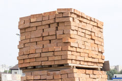 Pallets are usually red brick Stock Image