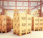 Pallets in warehouse. 3d image of pallets with classic boxes in warehouse Royalty Free Stock Photo