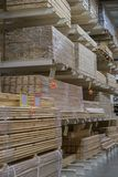 Pallets of wooden boards at do it yourself store Stock Image