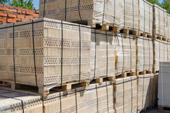 Pallets of yellow brick Royalty Free Stock Images
