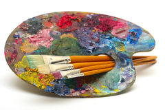 Pallette with brushes Stock Image