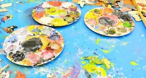 Pallette du peintre utilisé photos libres de droits