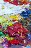 Pallette sujo para o fundo de pintura Fotografia de Stock Royalty Free