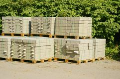 Pallettes of construction material Stock Photo
