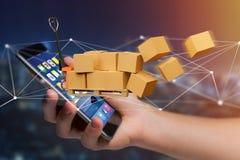 Palletvrachtwagen en carboxes met het systeem van de netwerkverbinding - 3d aangaande Royalty-vrije Stock Fotografie