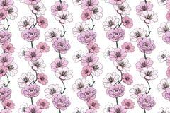 Pallido - camelie rosa e gardenie illustrazione vettoriale