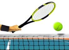 Pallina da tennis davanti alla rete sopra bianco Immagine Stock Libera da Diritti