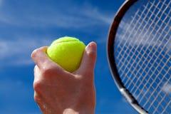 Pallina da tennis e racchetta Fotografie Stock Libere da Diritti