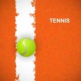 Pallina da tennis sulla corte Vettore Fotografia Stock Libera da Diritti