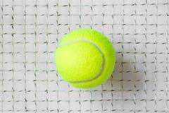 Pallina da tennis sulla griglia della racchetta Immagini Stock
