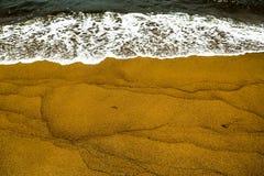 Palliyawatta beach, Sri Lanka. Small waves hitting the golden sands of Palliyawatta beach in Wattala, Sri Lanka stock photo