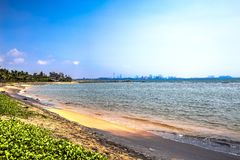 Palliyawatta beach, Sri Lanka. Palliyawatta beach in Wattala with clear waters and golden sands. In the background you can observe the skyscrapers of Colombo Royalty Free Stock Photography