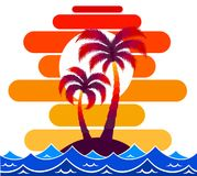 Pallma tree vector illustration sunset waves sea ocean design art print travel tropics island sun tourism holidays Royalty Free Stock Photos