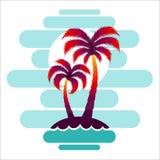 Pallma zmierzchu drzewnych wektorowych ilustracyjnych fala oceanu projekta sztuki druku podróży zwrotników wyspy słońca turystyki Fotografia Stock