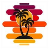 Pallma zmierzchu drzewnych wektorowych ilustracyjnych fala oceanu projekta sztuki druku podróży zwrotników wyspy słońca turystyki Obraz Royalty Free