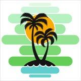 Pallma zmierzchu drzewnych wektorowych ilustracyjnych fala oceanu projekta sztuki druku podróży zwrotników wyspy słońca turystyki Obrazy Royalty Free