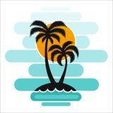 Pallma zmierzchu drzewnych wektorowych ilustracyjnych fala oceanu projekta sztuki druku podróży zwrotników wyspy słońca turystyki Zdjęcia Stock