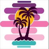 Pallma zmierzchu drzewnych wektorowych ilustracyjnych fala oceanu projekta sztuki druku podróży zwrotników wyspy słońca turystyki Fotografia Royalty Free