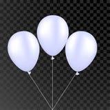 Pallone bianco di vettore su un fondo trasparente le feste felici realistiche 3d che pilotano l'elio dell'aria balloon Fotografia Stock