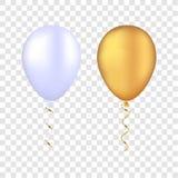 Pallone bianco di vettore su un fondo trasparente le feste felici realistiche 3d che pilotano l'elio dell'aria balloon Immagine Stock Libera da Diritti