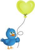 Pallone blu del cuore della tenuta dell'uccello Fotografia Stock