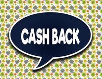 Pallone blu scuro di parola con il messaggio di testo della PARTE POSTERIORE dei CONTANTI Fondo della carta da parati dei fiori Fotografie Stock