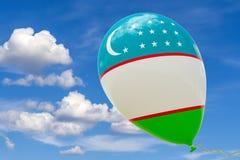 Pallone con l'immagine della bandiera nazionale dell'Uzbekistan, volante attraverso il cielo blu 3D rappresentazione, illustrazio illustrazione vettoriale