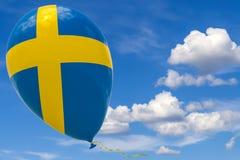 Pallone con l'immagine della bandiera nazionale della Svezia, volante attraverso il cielo blu 3D rappresentazione, illustrazione  illustrazione di stock