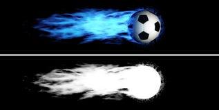 Pallone da calcio ardente volante Immagini Stock Libere da Diritti