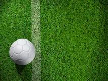 Pallone da calcio bianco sulla linea Fotografia Stock Libera da Diritti