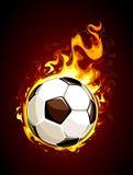 Pallone da calcio bruciante illustrazione di stock