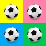 Pallone da calcio/calcio fissato sugli ambiti di provenienza colourful illustrazione vettoriale