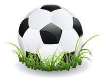 Pallone da calcio con erba illustrazione di stock