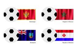 Pallone da calcio con il Montenegro, Marocco, Montserrat a Fotografie Stock Libere da Diritti