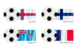Pallone da calcio con isole faroe, la Finlandia, le Figi e la bandiera della Francia Fotografia Stock