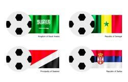 Pallone da calcio con l'Arabia Saudita, Senegal, Sealand Fotografia Stock