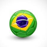 Pallone da calcio con la bandiera del Brasile Fotografia Stock Libera da Diritti