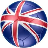 Pallone da calcio con la bandiera del Regno Unito (fotorealistica) Fotografie Stock Libere da Diritti