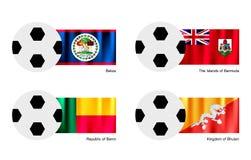 Pallone da calcio con la bandiera di Belize, delle Bermude, del Benin e del Bhutan Fotografia Stock Libera da Diritti