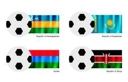 Pallone da calcio con la bandiera di Karakalpakstan, del Kazakistan, della Carelia e del Kenya Fotografia Stock Libera da Diritti