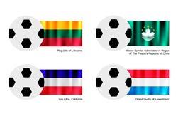 Pallone da calcio con la Lituania, Macao, i negativi per la stampa di cartamoneta di Los e la bandiera del Lussemburgo Fotografia Stock Libera da Diritti