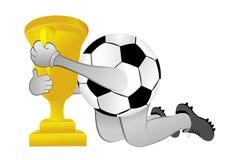 Pallone da calcio con la tazza Fotografia Stock Libera da Diritti