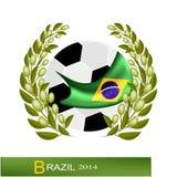 Pallone da calcio con Laurel Wreath nel Brasile 2014 Fotografia Stock