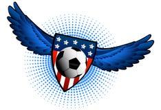 Pallone da calcio con le ali Immagini Stock Libere da Diritti