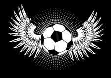Pallone da calcio con le ali Fotografia Stock